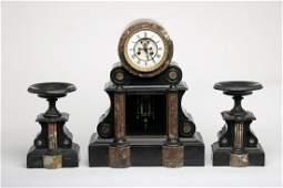 Napoleon III Marble Garniture Set Mantle Clock Candles