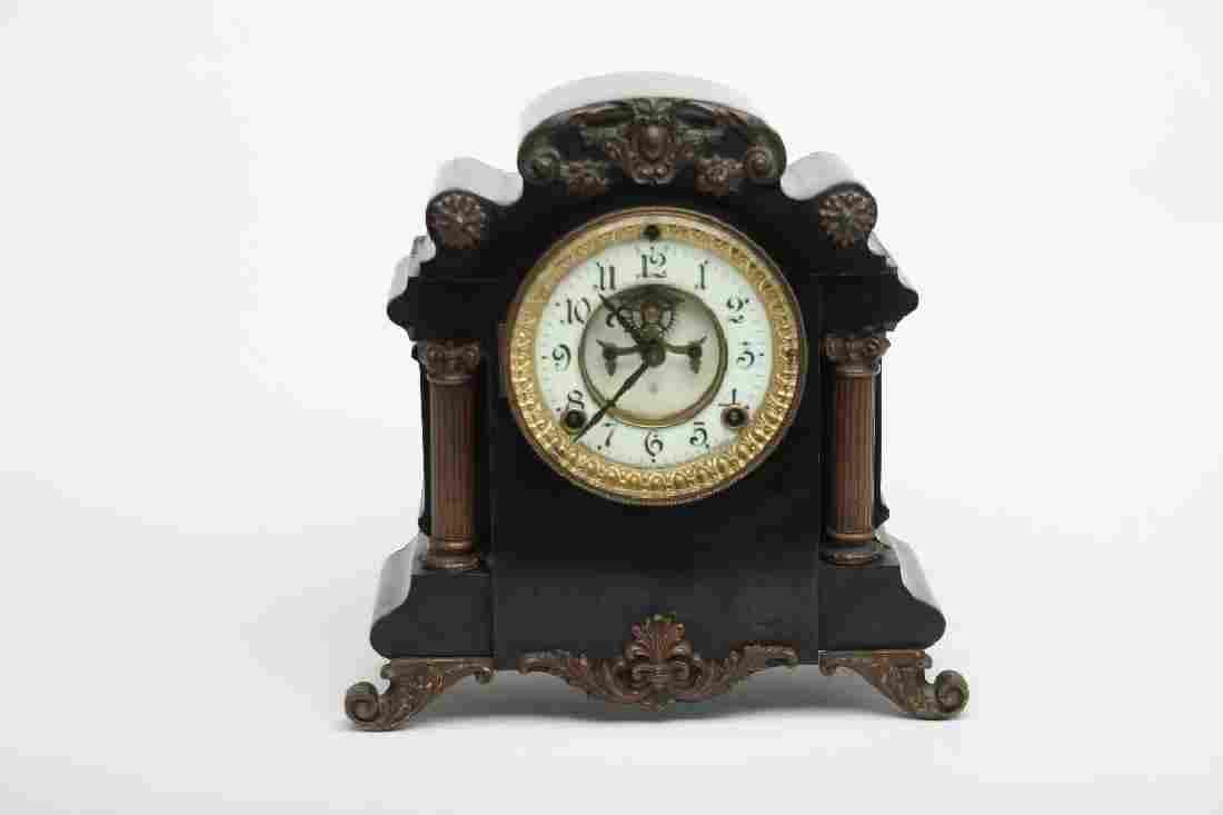 Ansonia Vintage Black Wood and Metal Mantle Clock