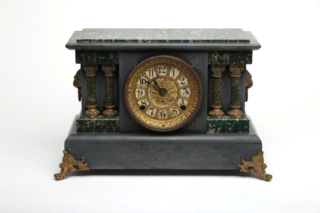 Vintage Seth Thomas Adamantine Faux Marble Mantle Clock