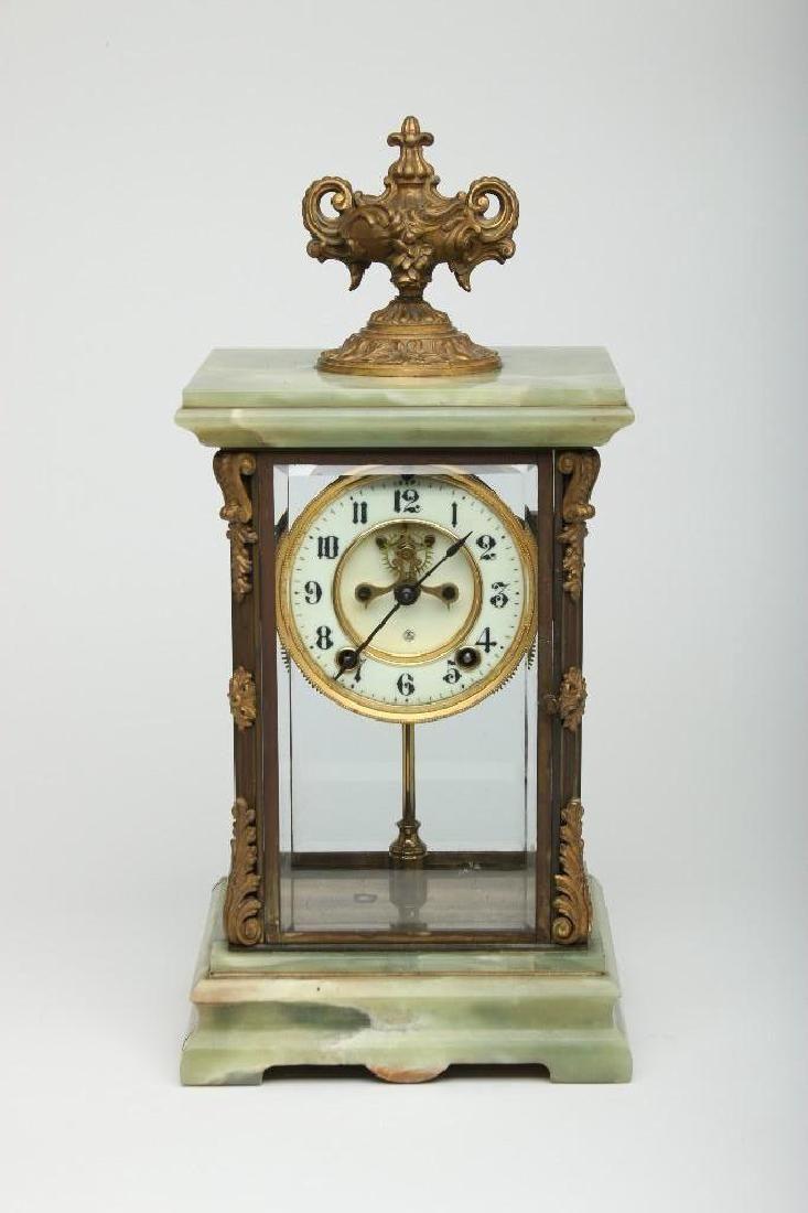 French Onyx Stone Ormolu Metal Mantle Carriage Clock