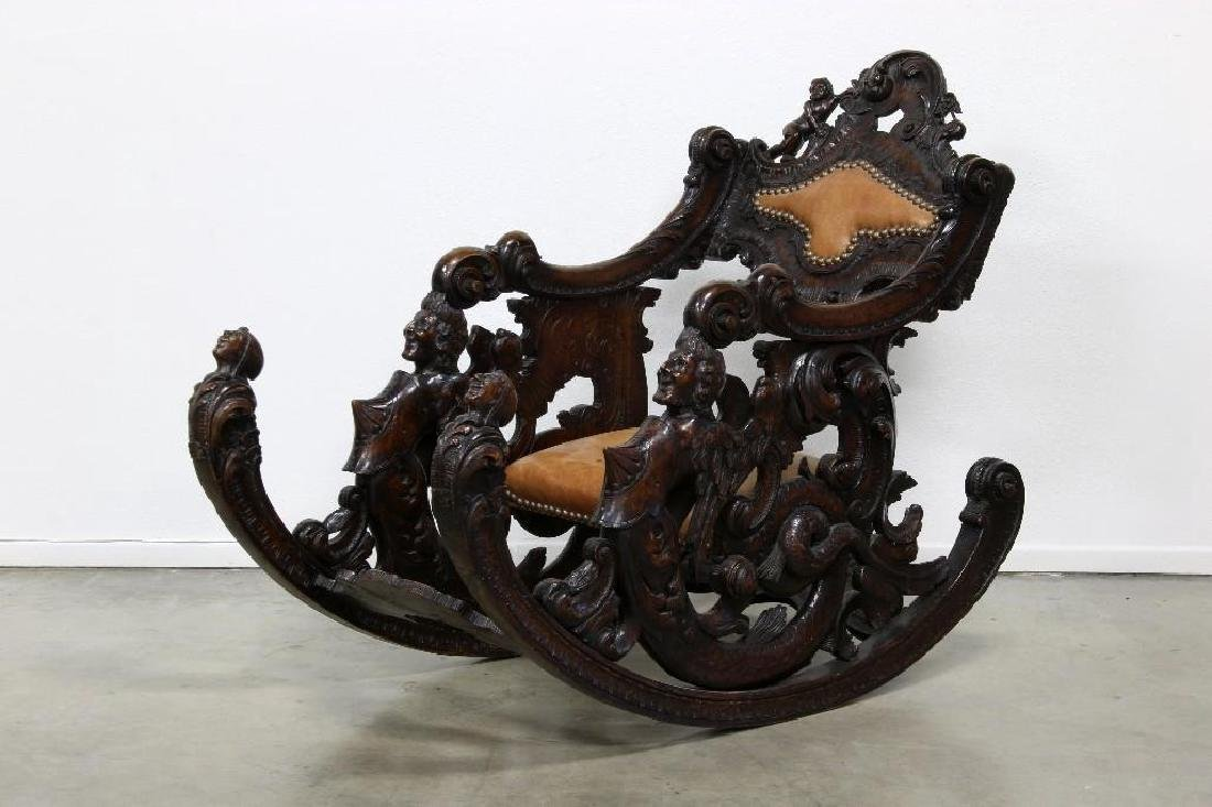 Antique Ornate European Carved Figural Fantasy Rocker
