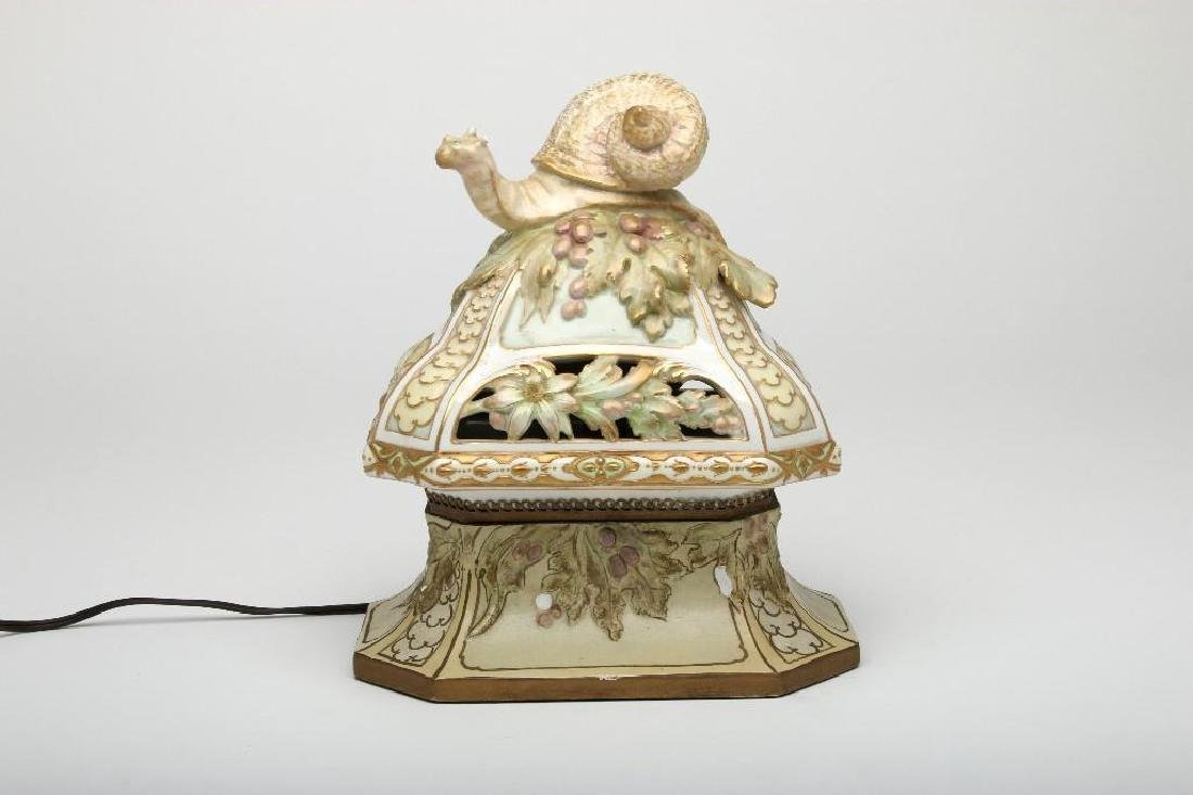 Art Nouveau Porcelain Snail Figure Lamp Wooden Base