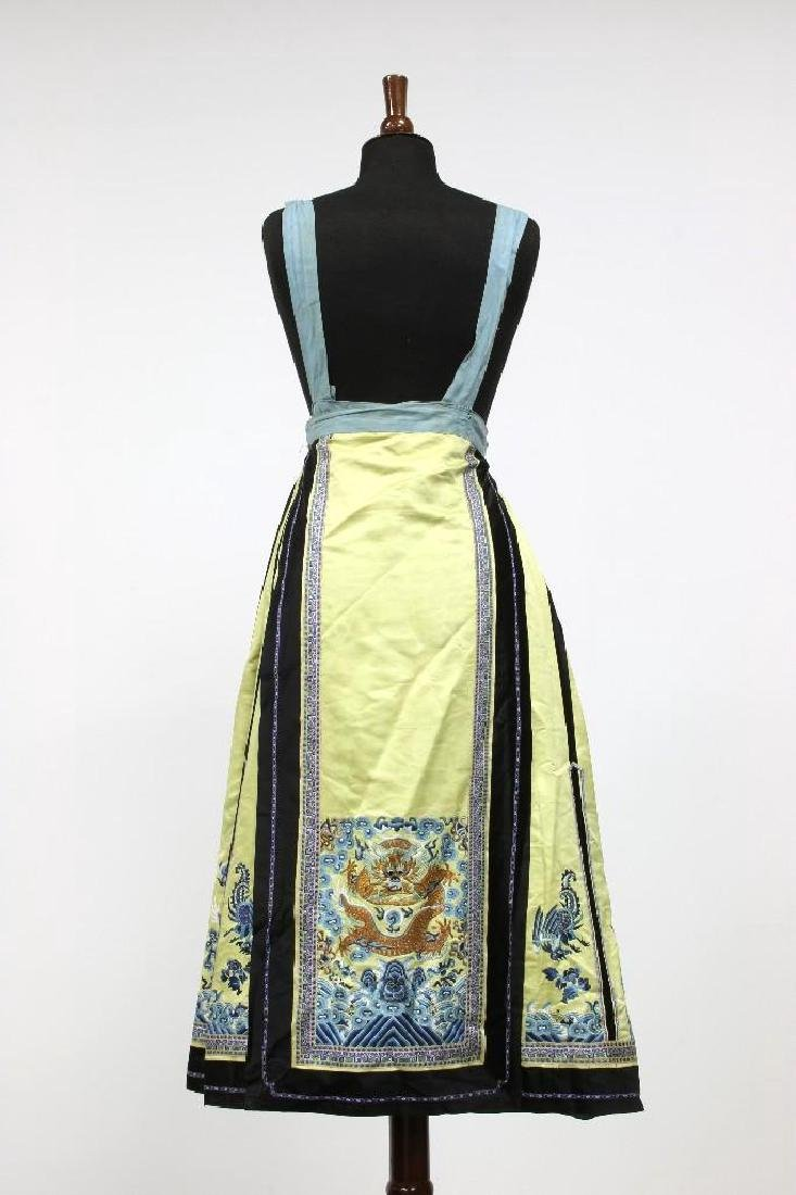 Chinese Yellow Dragon Embroidered Silk Pinafore Skirt