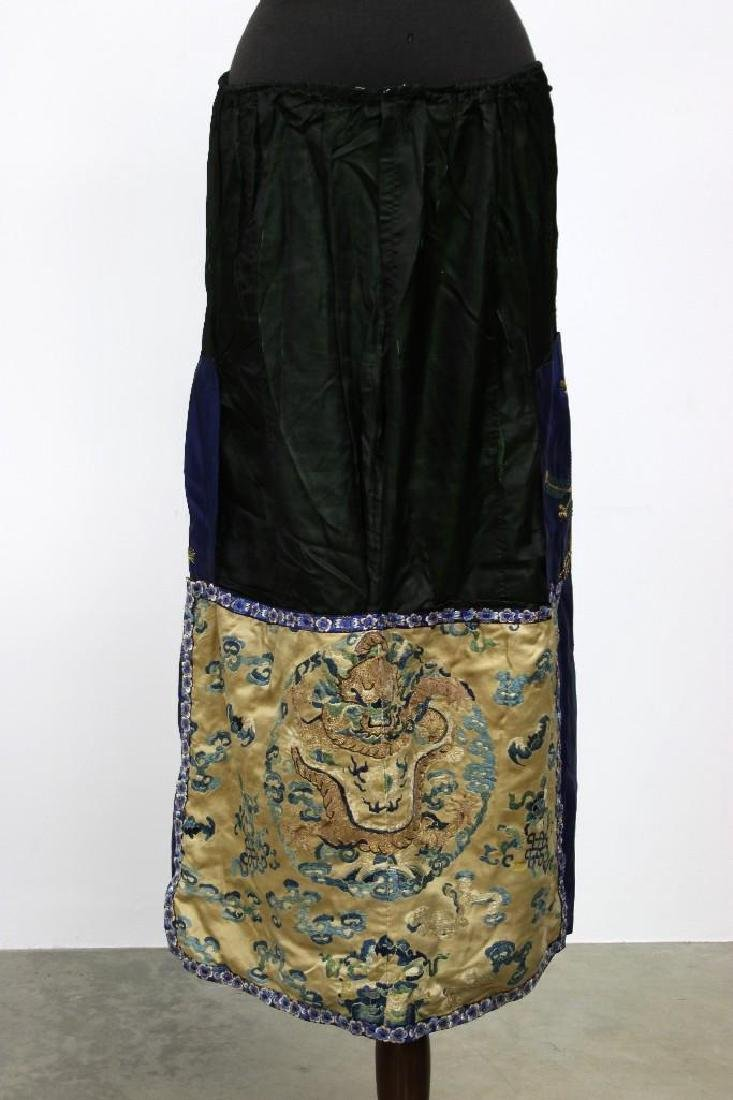Chinese Embroidered Silk Patchwork Skirt with Dragon