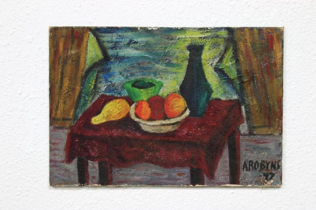 Annette Robyns Oil on Board Two Still Life Paintings