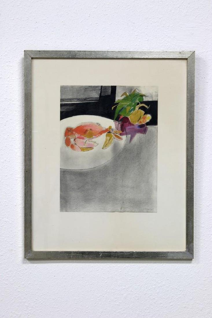 Barbara Mann 1964 Watercolor Still Life With Crab
