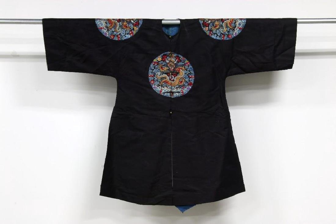 Chinese Embroidered Black Surcoat Imperial Dragon Robe