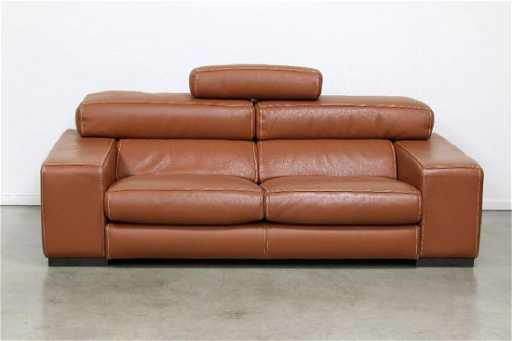 Roche Bobois French Modern Fregate Cognac Leather Sofa