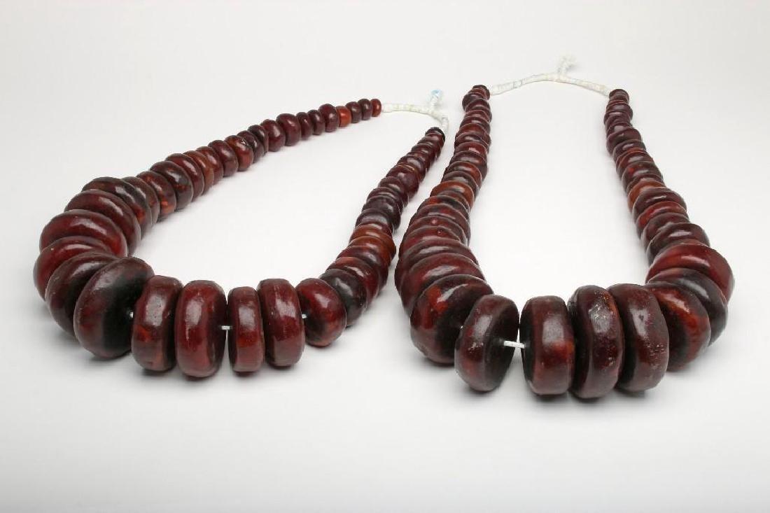 Large African Bead Strand Dark Brown Amber