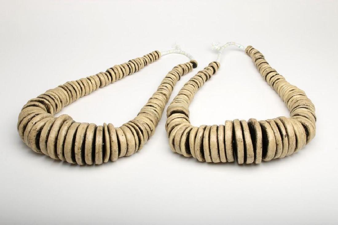 Large African Bead Strand White Flat Round