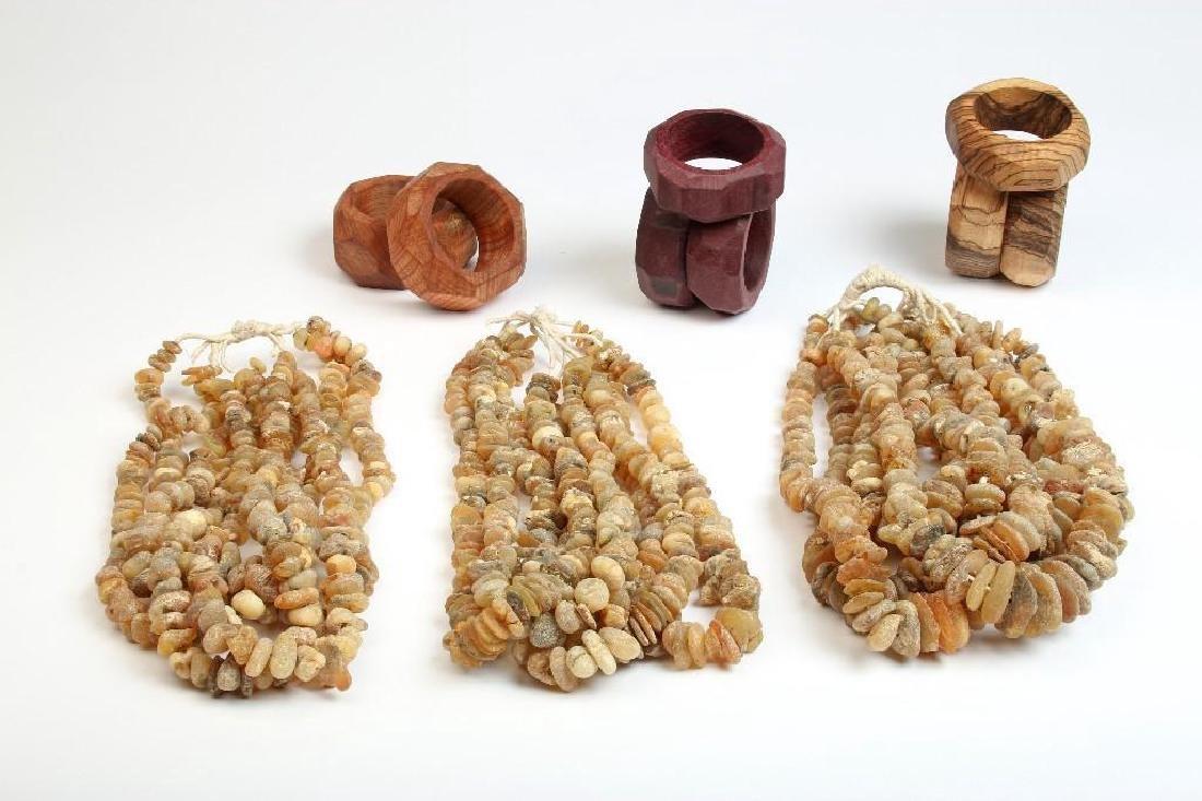 Wood Bangle Bracelets and Stone Necklaces