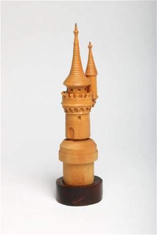 Original Disneyland Castle Miniature Wood Turret Model