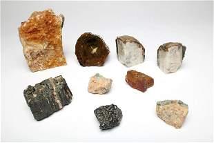 Lot of 9 Brown Rock Geode Crystal Specimens Geology