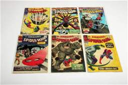 Lot of Six Amazing Spider-Man Marvel Silver Age Comic