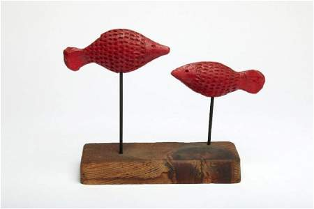 Doyle Lane MCM Studio Pottery Fish Sculpture Red Fish