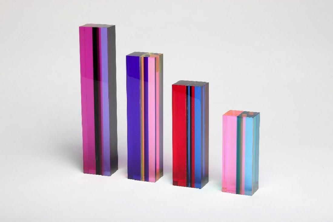 Group of Four Vasa Mihich 80s Modern Acrylic Sculpture