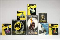 Lot of 9 Batman Statues Mini-Busts Bat Signal