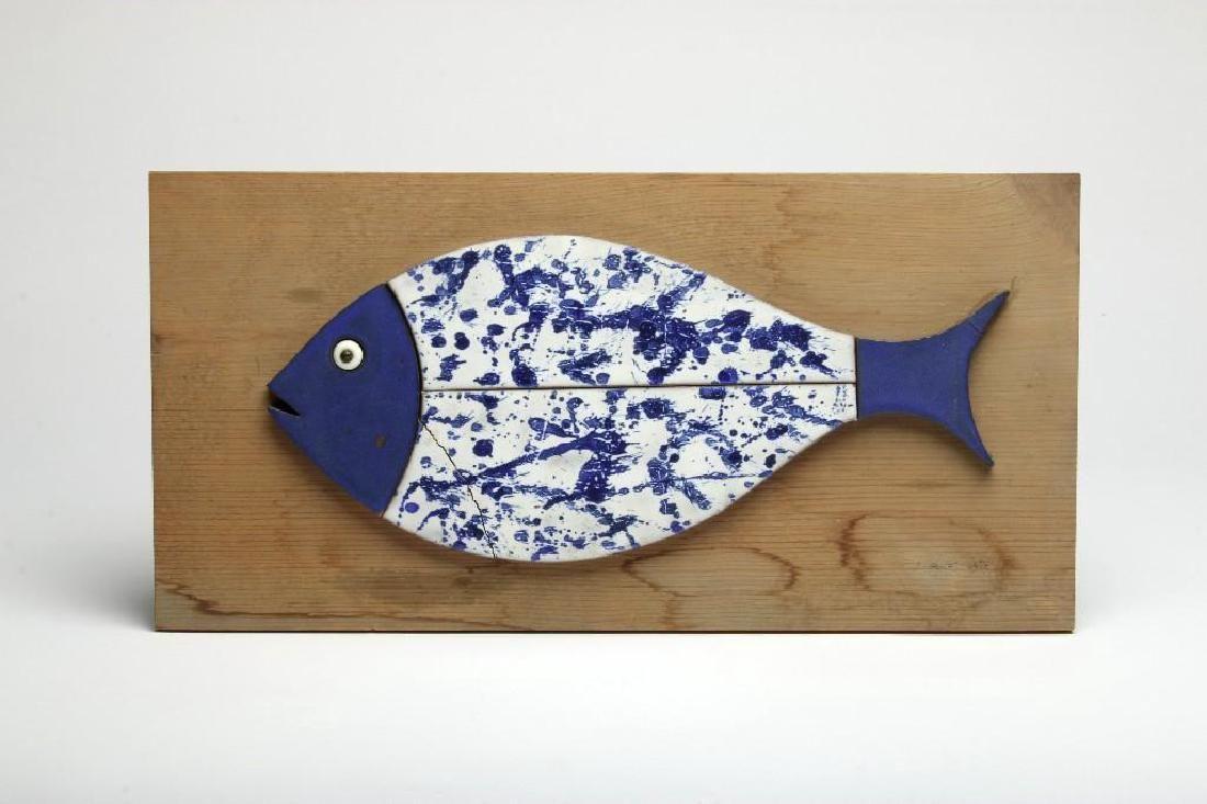 Doyle Lane MCM Studio Pottery Fish Blue White Signed