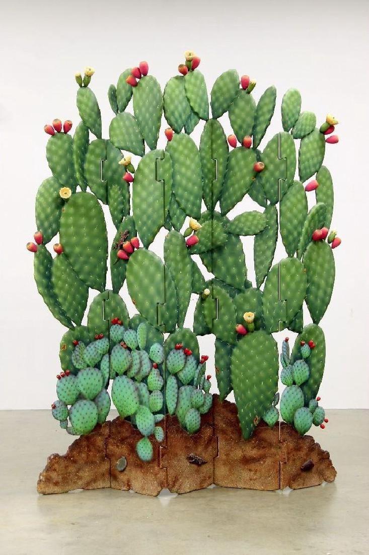 Zweifel Functional Art Folding Screen Flowering Cactus