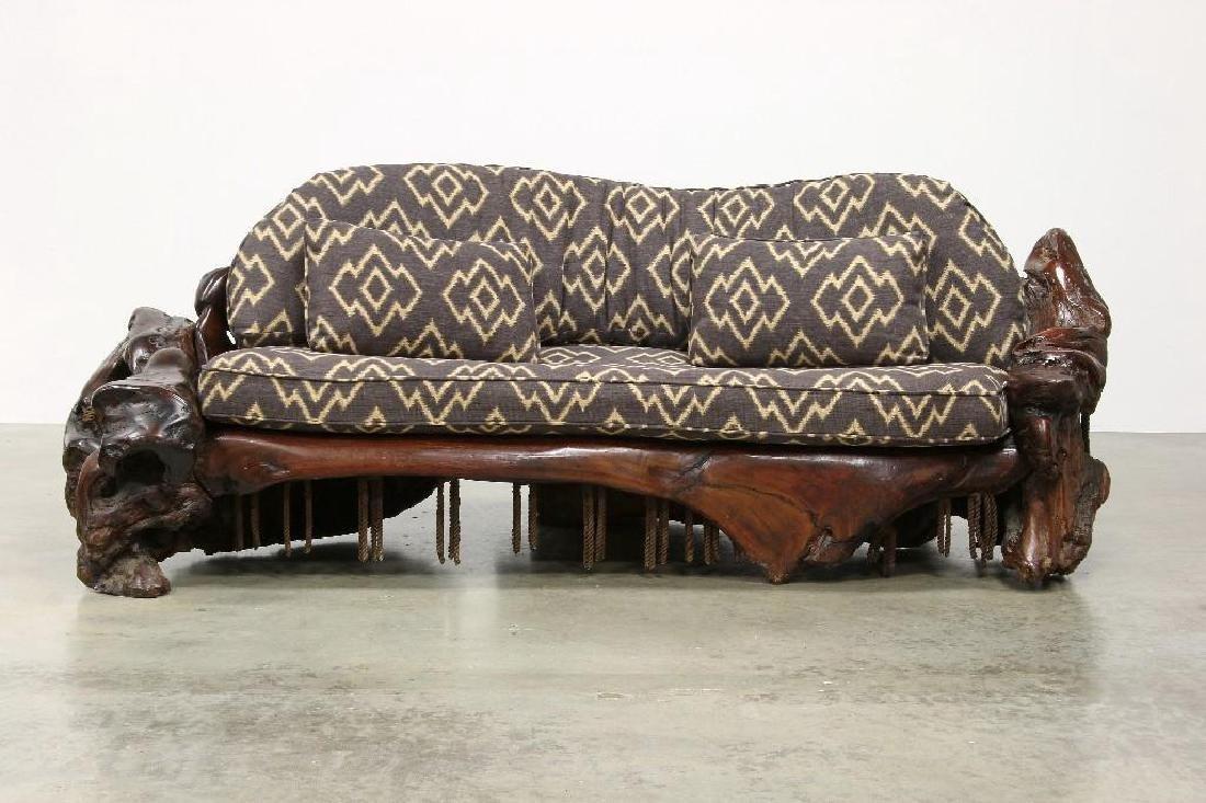 Freeform Artisan Studio Burl Redwood Sofa Chair Tables - 2