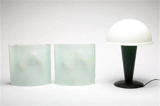 Ron Rezek Artemide Facet Sconces 2 Dome Mushroom Lamp