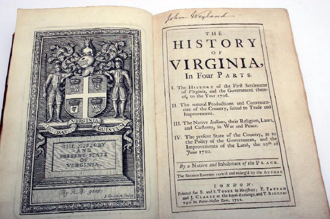 Beverley, Robert The History of Virginia 2nd Ed 1722 - 4