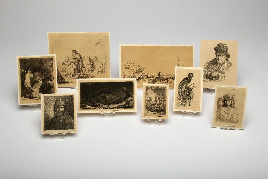 Lot of Nine Rembrandt Etchings Scenic and Portrait
