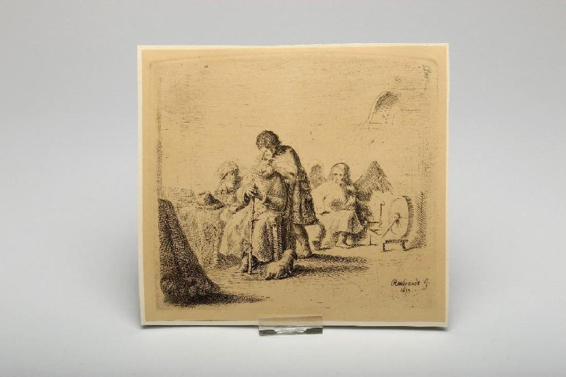 Lot of Nine Rembrandt Etchings Scenic and Portrait - 2