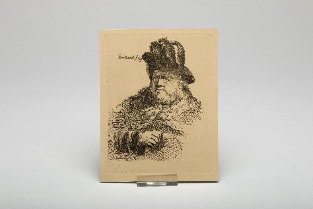 Lot of Nine Rembrandt Etchings Scenic and Portrait - 4