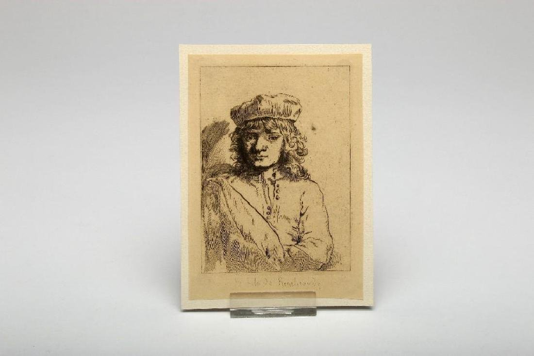 Lot of Nine Rembrandt Etchings Scenic and Portrait - 7
