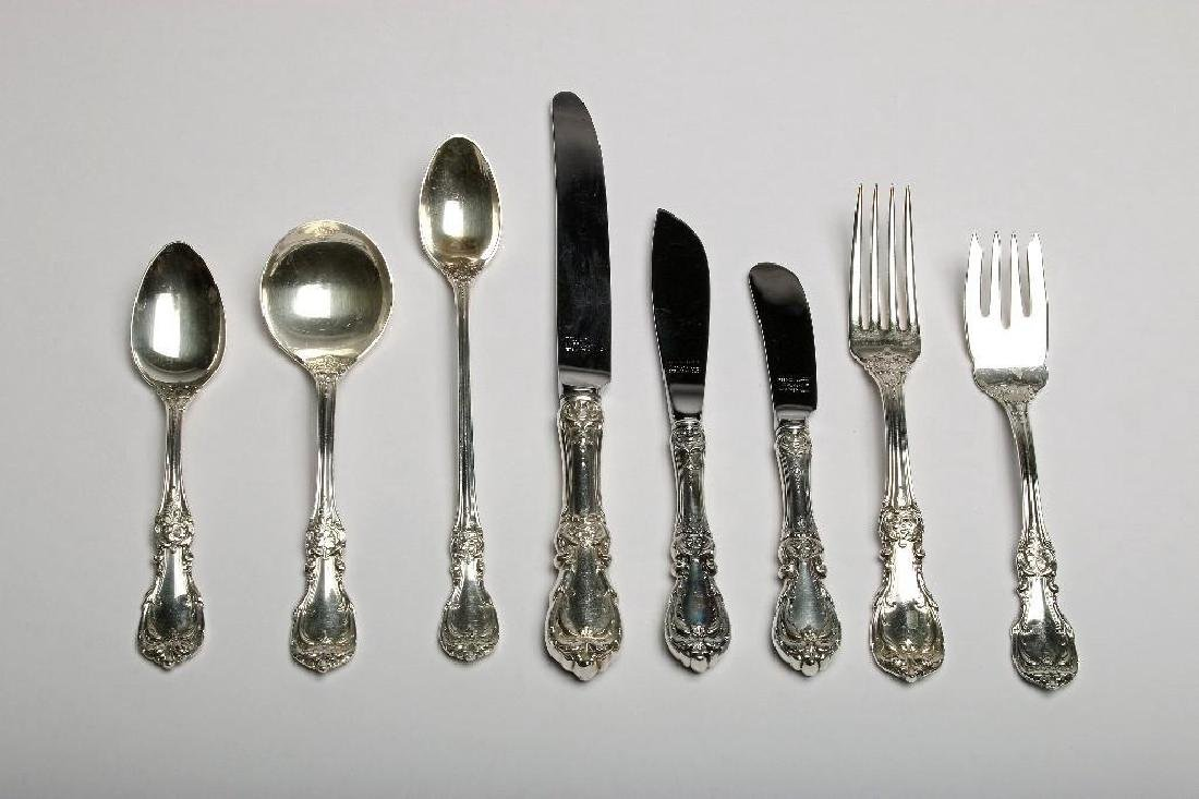 Reed & Barton Burgundy Sterling Silver Flatware 113 Pc - 2