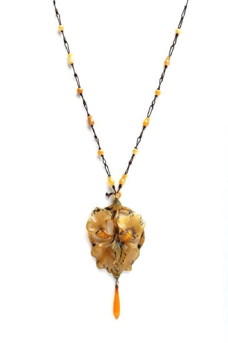 Art Nouveau Carved Horn Iris Flower Pendant Necklace