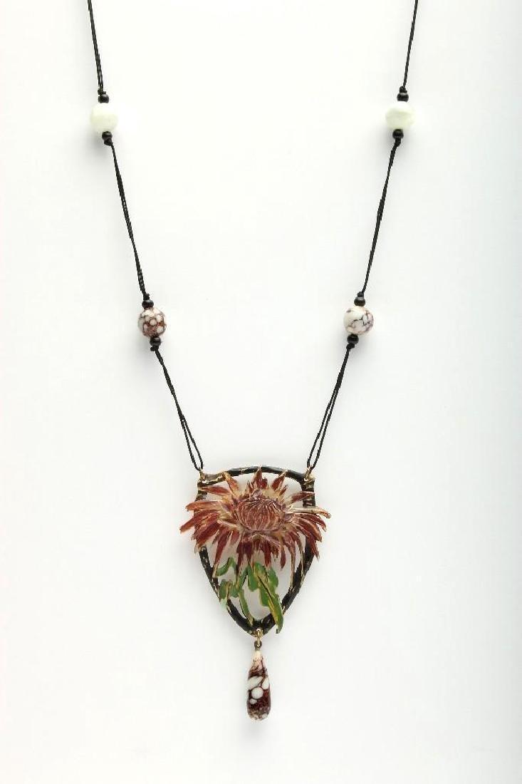 Elizabeth Bonte Art Nouveau Carved Color Horn Necklace