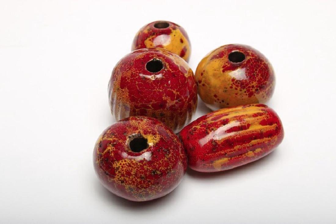 Doyle Lane California Pottery Pendants Beads Yellow Red - 3