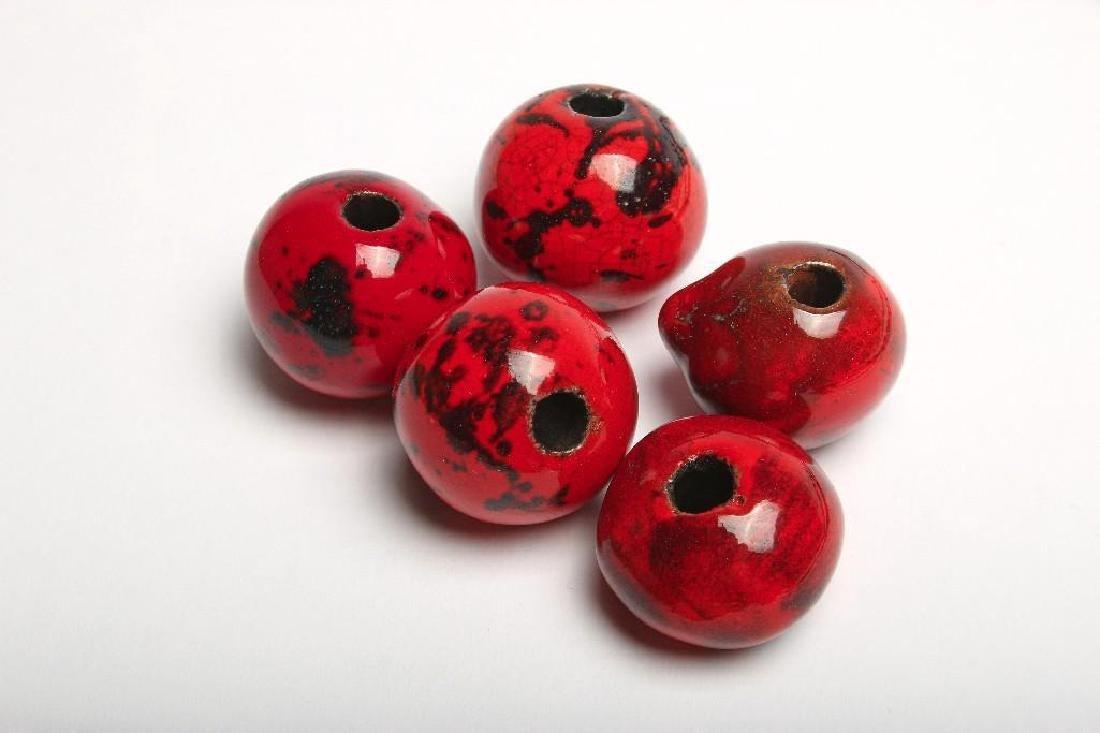 Doyle Lane California Pottery Pendants Beads Yellow Red - 5