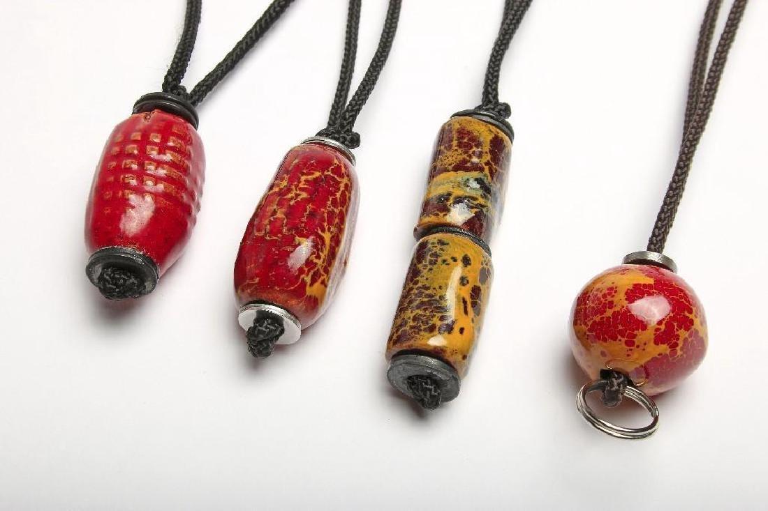 Doyle Lane California Pottery Pendants Beads Yellow Red - 6