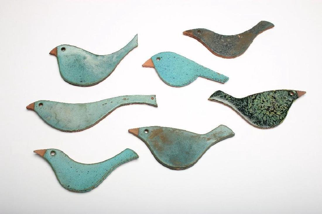 Doyle Lane California Pottery 7 Tile Bird Figures Blues
