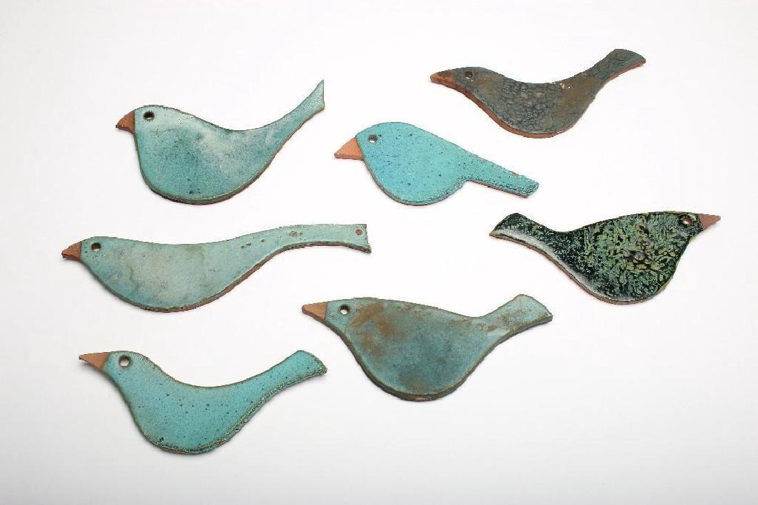 Doyle Lane California Pottery 7 Tile Bird Figures Blues