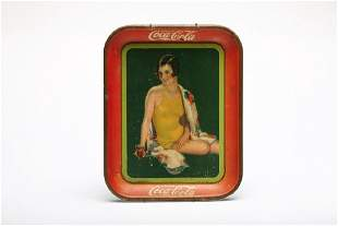 Vintage 1929 CocaCola Advertising Tray Yellow Swimsuit