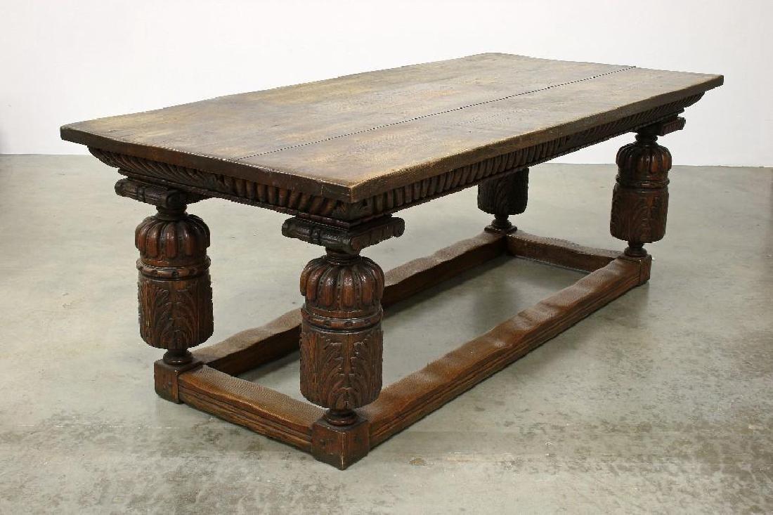 Massive Carved Oak Jacobean Revival Refectory Table