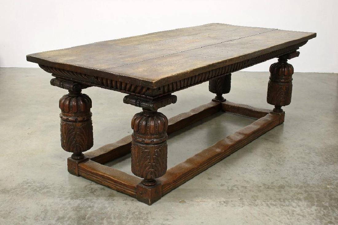 Massive Carved Oak Jacobean Revival Refectory Table