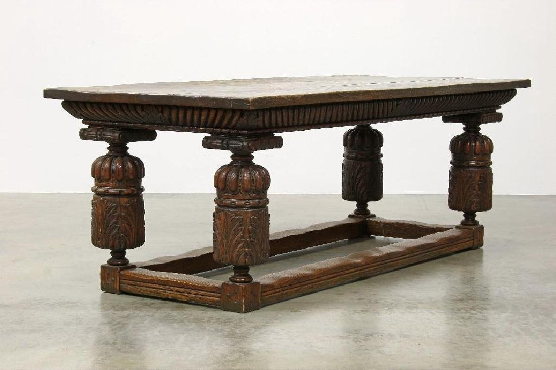 Massive Carved Oak Jacobean Revival Refectory Table - 2