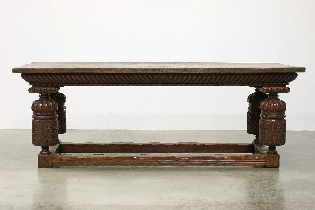 Massive Carved Oak Jacobean Revival Refectory Table - 3