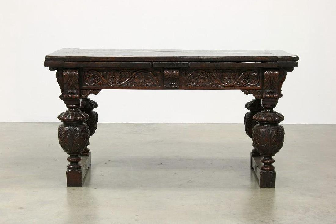 Heavy Oak Elaborately Carved Draw Leaf Table Chair - 2