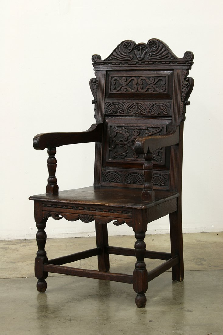 Heavy Oak Elaborately Carved Draw Leaf Table Chair - 6