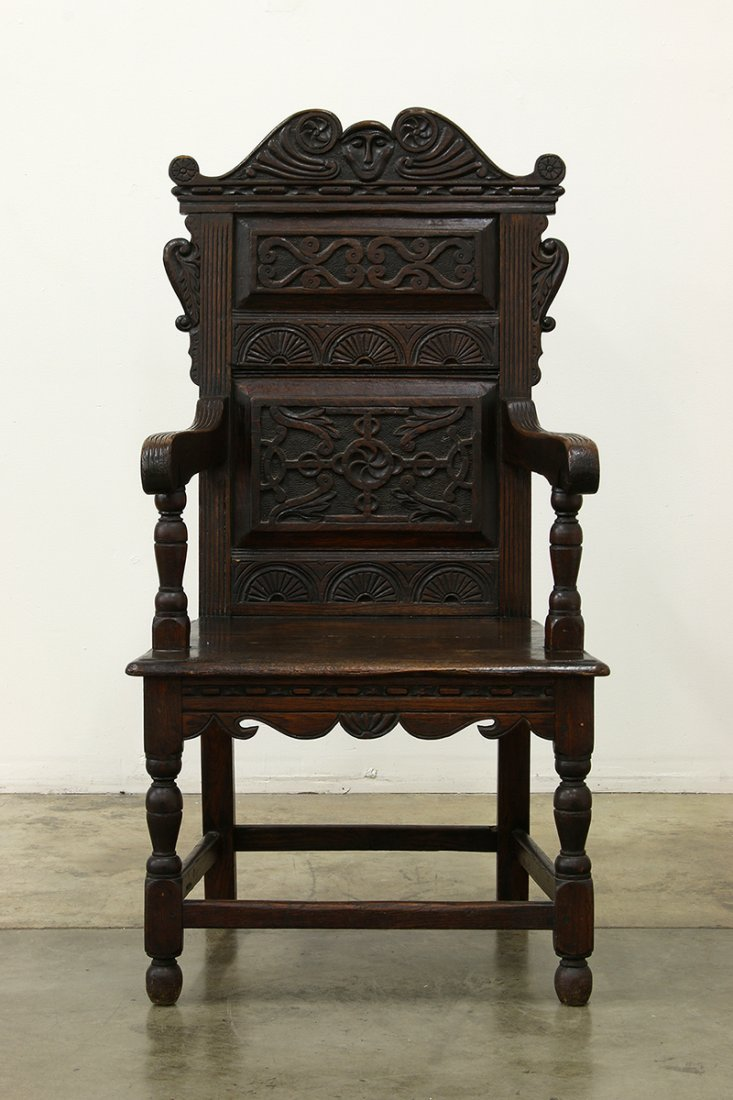 Heavy Oak Elaborately Carved Draw Leaf Table Chair - 7