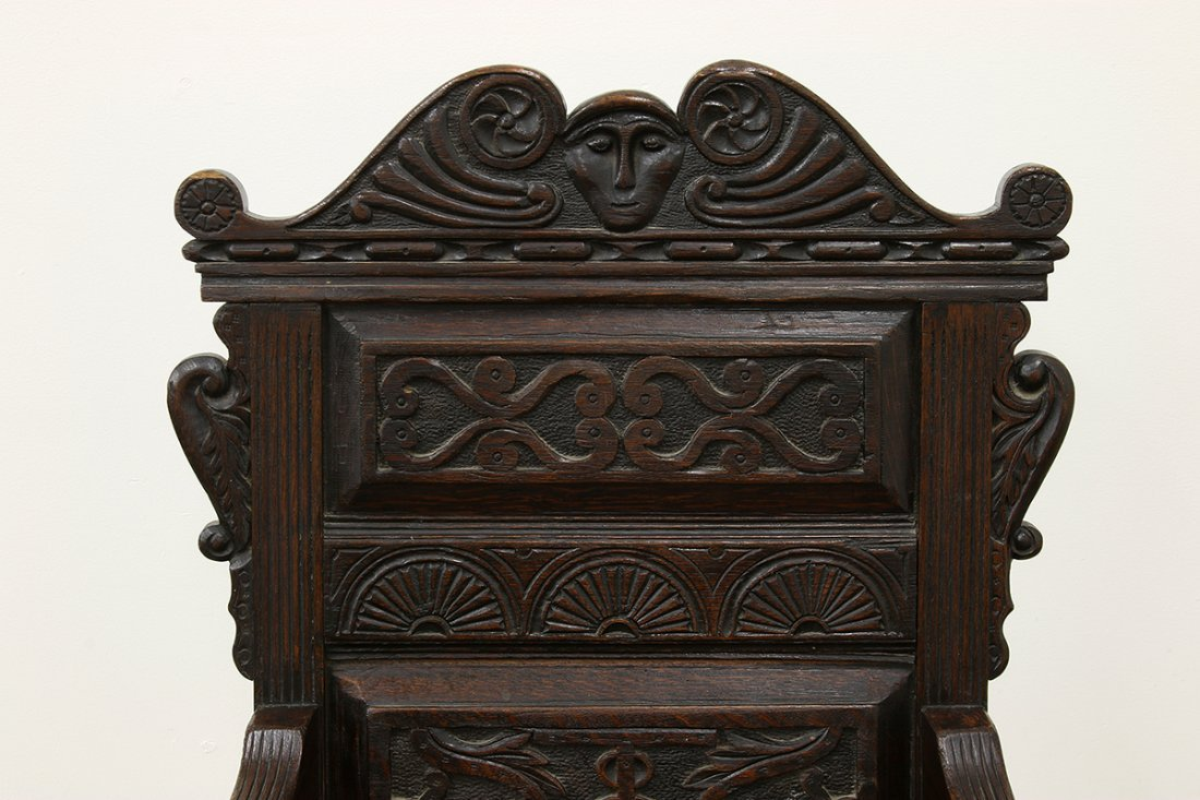 Heavy Oak Elaborately Carved Draw Leaf Table Chair - 8