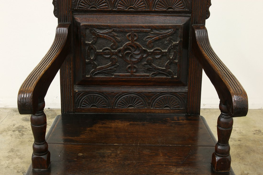 Heavy Oak Elaborately Carved Draw Leaf Table Chair - 9