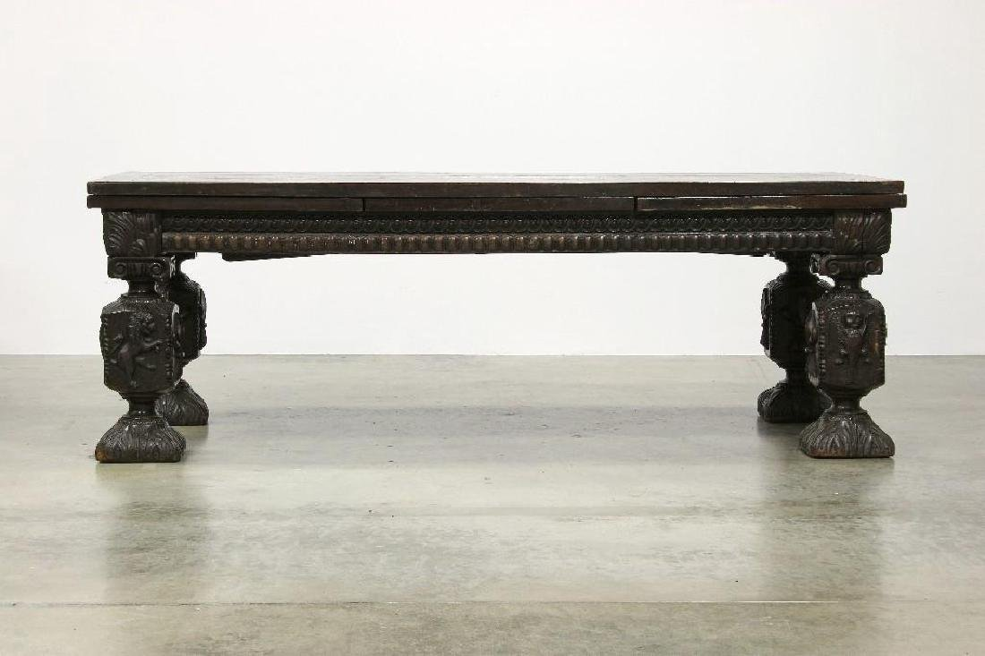 Massive Draw Leaf Table Elaborately Carved Figural Legs - 2