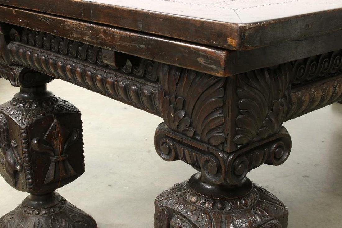 Massive Draw Leaf Table Elaborately Carved Figural Legs - 3
